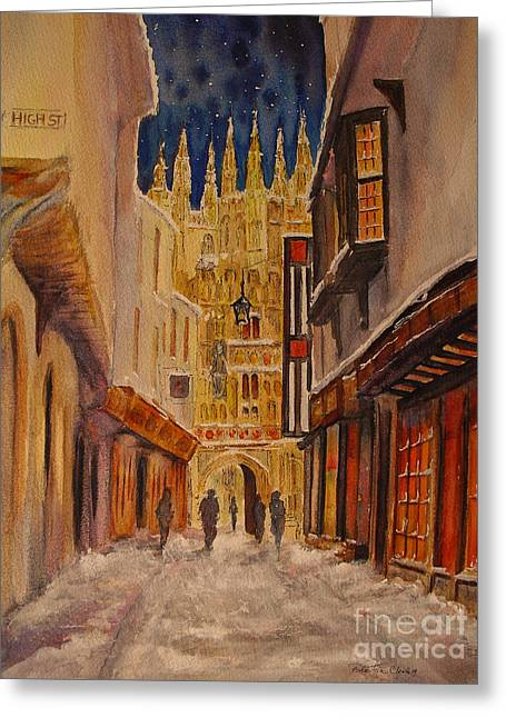 Greeting Card featuring the painting Winter In Canterbury by Beatrice Cloake