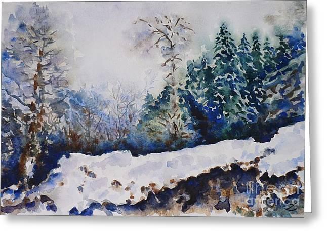 Winter In Dombay Greeting Card by Zaira Dzhaubaeva