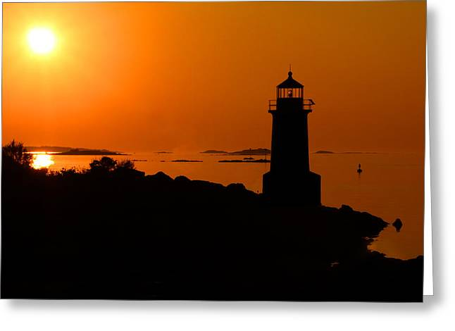 Winter Island Lighthouse Sunrise Greeting Card