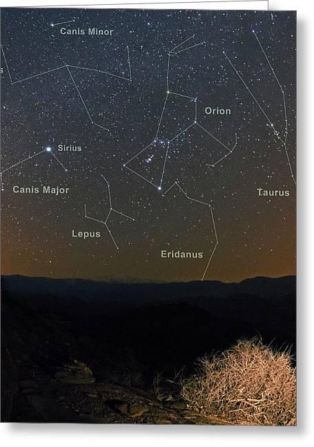 Winter Night Sky Greeting Card by Babak Tafreshi