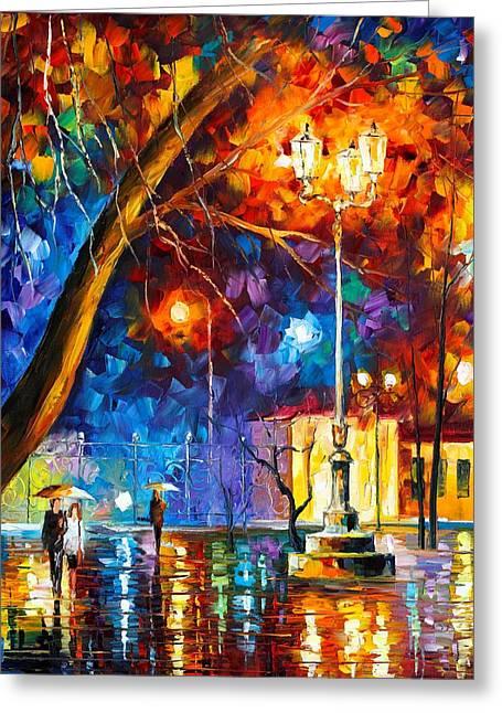 Winter Rain Greeting Card by Leonid Afremov