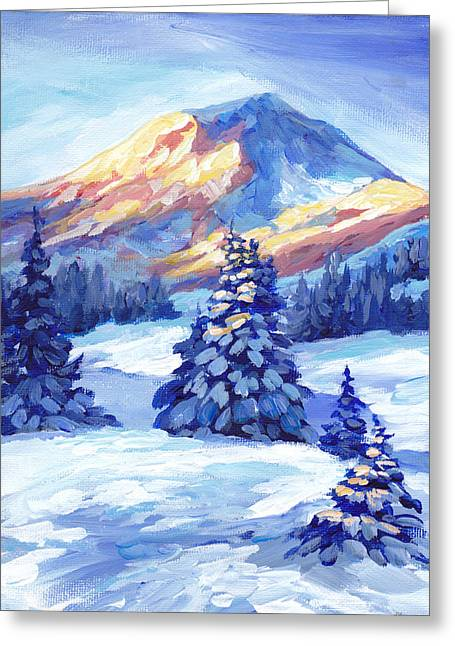 Winter Sunset  Greeting Card by Peggy Wilson