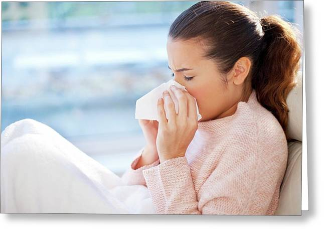Woman Blowing Her Nose Greeting Card