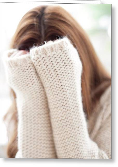 Woman Covering Face Greeting Card by Ian Hooton