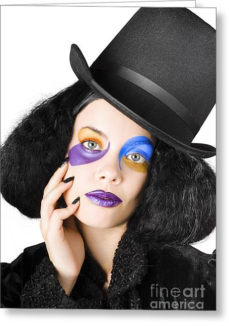 Woman Dressed As Jester Greeting Card by Jorgo Photography - Wall Art Gallery
