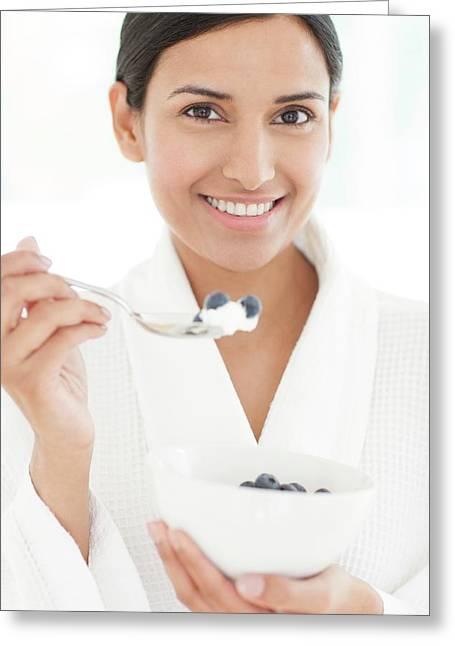 Woman Holding Bowl Of Fruit And Spoon Greeting Card