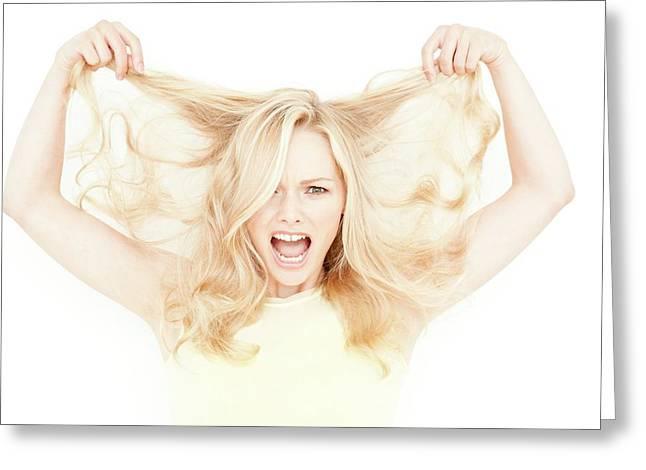 Woman Holding Long Blonde Hair Greeting Card by Ian Hooton