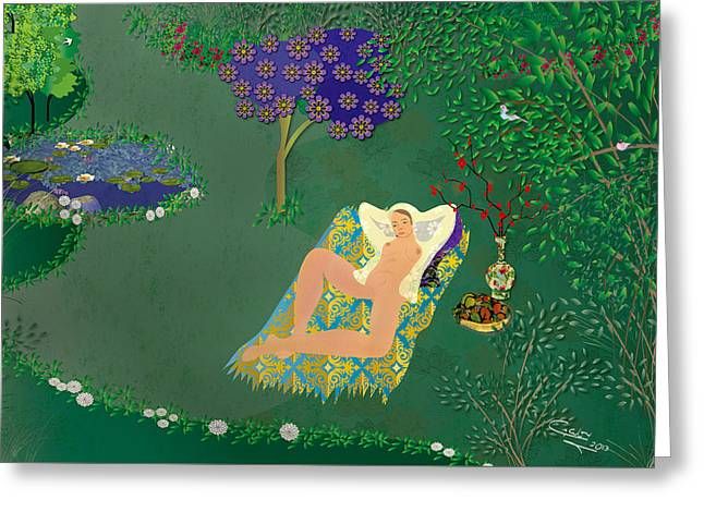 Woman In Garden With Pond Greeting Card