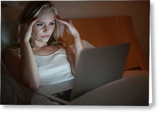Woman Using Laptop Greeting Card