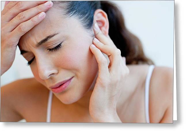 Woman With Earache Greeting Card