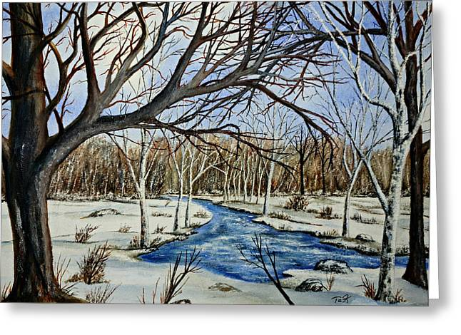 Greeting Card featuring the painting Wonderful Winter by Thomas Kuchenbecker