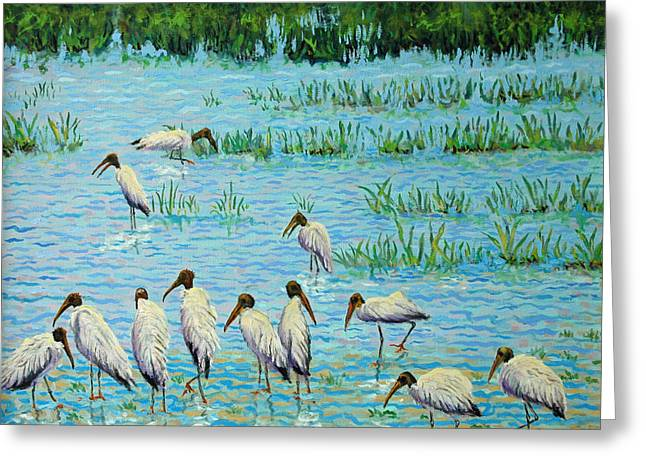 Wood Stork Discussion Group Greeting Card by Dwain Ray