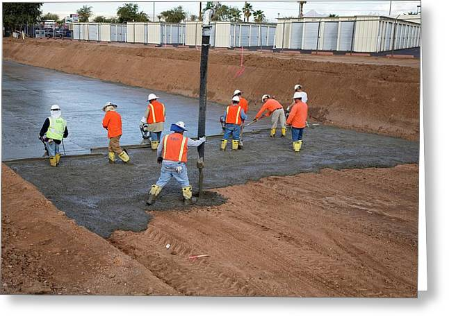 Workers Lining A Canal With Concrete Greeting Card