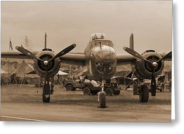World War II B-25 Bomber Briefing Time  Greeting Card by Angelo Rolt