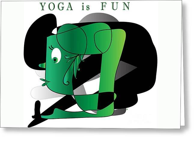 Greeting Card featuring the digital art Yoga by Iris Gelbart