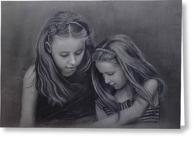 Young Sisters Greeting Card by Colleen Gallo