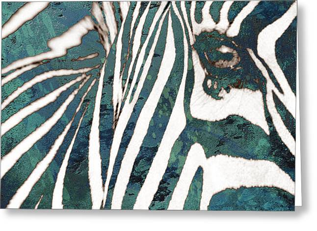 Zebra Art Stylised Drawing Art Poster Greeting Card by Kim Wang
