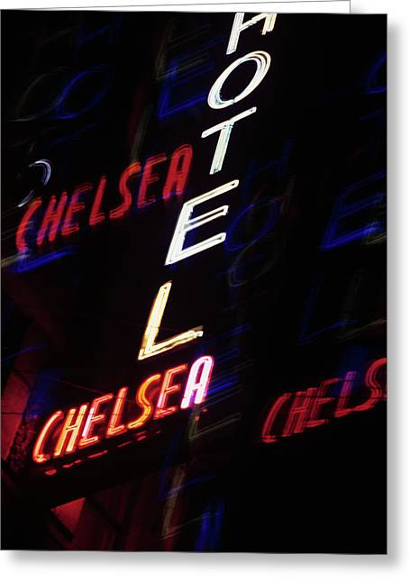 2000s Multiple Exposure Neon Sign Hotel Greeting Card