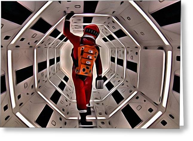 Greeting Card featuring the painting 2001 A Space Odyssey by Florian Rodarte