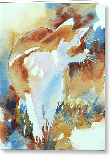 2004 Cat On The Prowl  I  Greeting Card by Kathy Braud