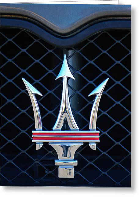 2005 Maserati Gt Coupe Corsa Emblem Greeting Card by Jill Reger