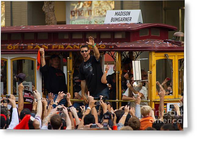 2010 World Series Champions San Francisco Giants Parade Madison Bumgarner 7d3078 Greeting Card by Wingsdomain Art and Photography