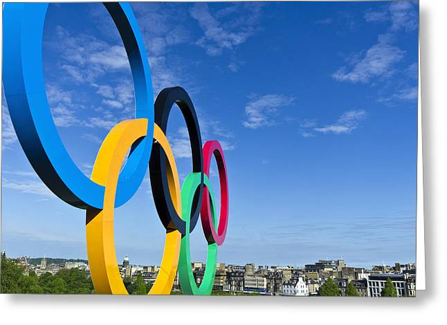 2012 Olympic Rings Over Edinburgh Greeting Card