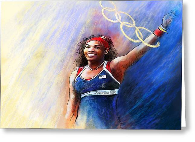2012 Tennis Olympics Gold Medal Serena Williams Greeting Card by Miki De Goodaboom