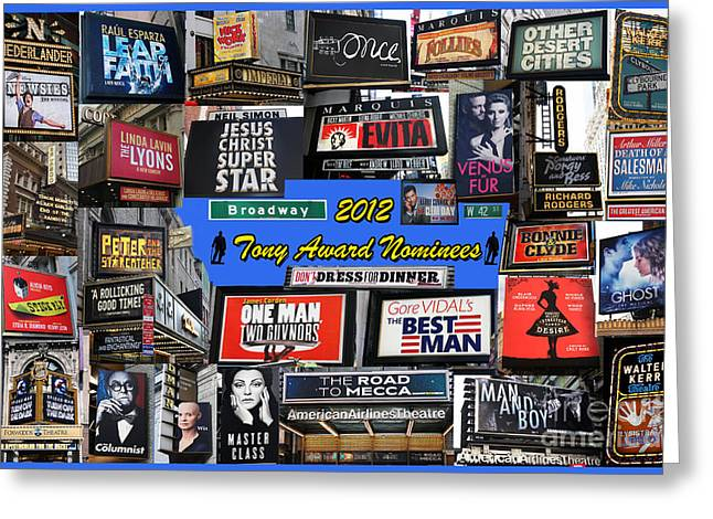 2012 Tony Award Nominees Collage Greeting Card by Steven Spak