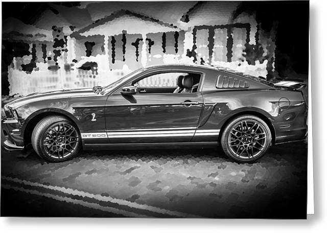 2013 Ford Mustang Shelby Gt 500 Bw Greeting Card