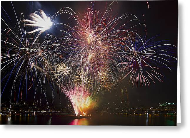 2013 Independence Day Fireworks Display On Portland Oregon Water Greeting Card by David Gn