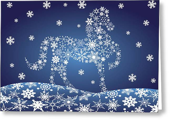 2014 Chinese Horse With Snowflakes Night Winter Scene Greeting Card