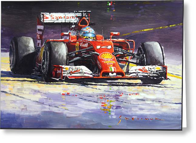 2014 Ferrari F14t Fernando Alonso  Greeting Card by Yuriy Shevchuk