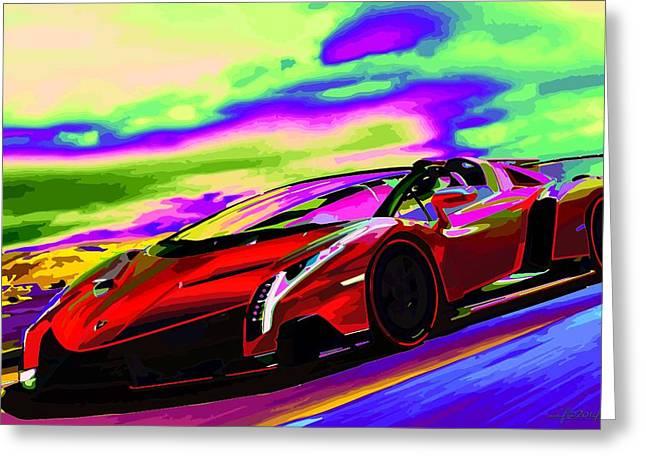 2014 Lamborghini Veneno Roadster Abstract Greeting Card