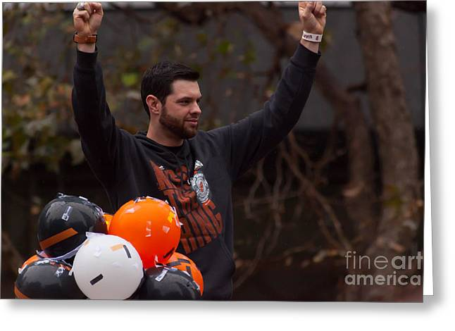 2014 World Series Champions San Francisco Giants Dynasty Parade Brandon Belt 5d29730 Greeting Card by Wingsdomain Art and Photography