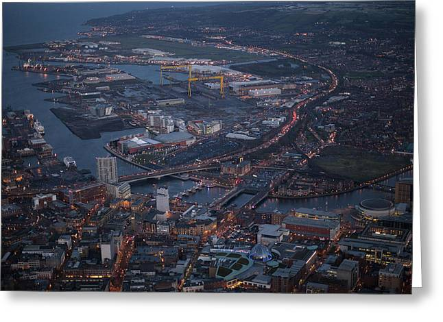 Belfast At Night, Northern Ireland Greeting Card by Colin Bailie