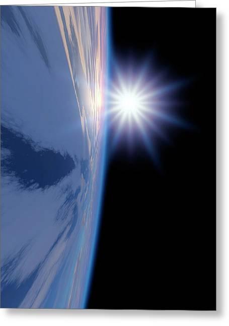 Earth-like Alien Planet Greeting Card by Detlev Van Ravenswaay
