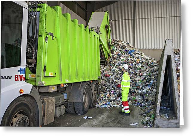 Recycling Centre Greeting Card by Lewis Houghton/science Photo Library