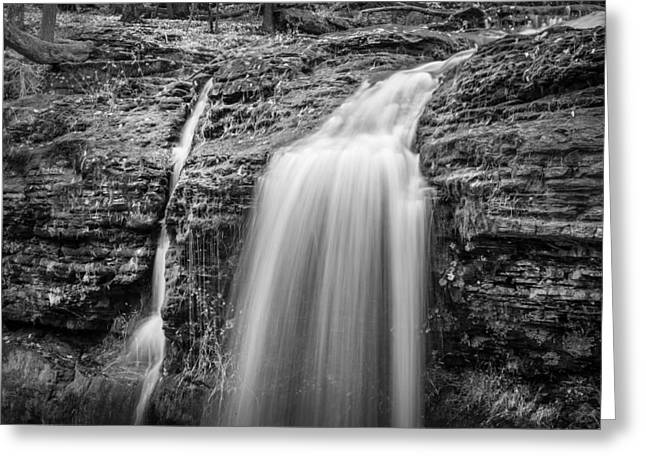 Waterfalls George W Childs National Park Painted Bw   Greeting Card