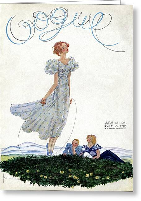 A Vintage Vogue Magazine Cover Of A Woman Greeting Card by Georges Lepape