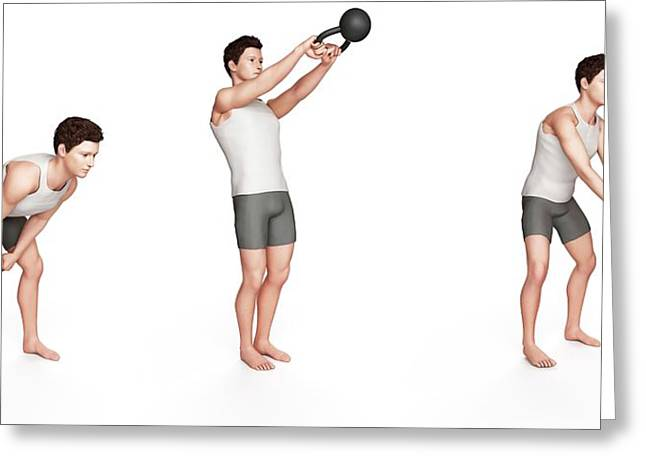 Person Using Kettlebell Greeting Card