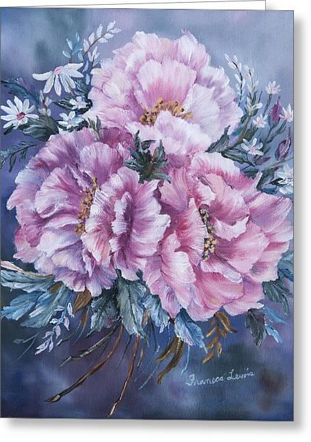 Peonies In Pink Greeting Card by Frances Lewis