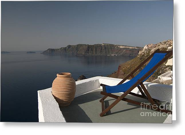 Santorini Greeting Card by Borislav Stefanov