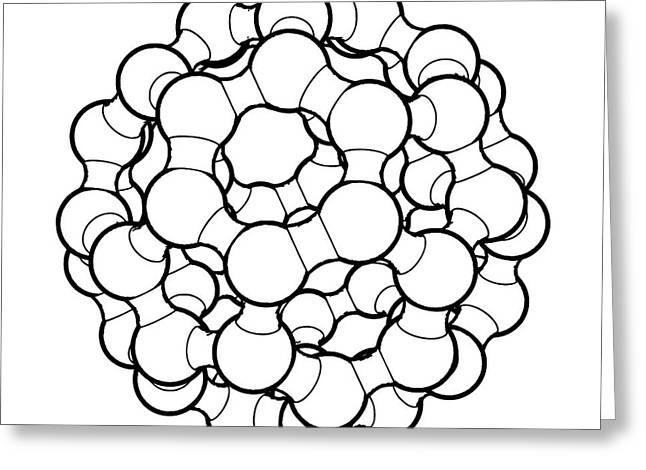 Buckminsterfullerene Molecule Greeting Card by Russell Kightley