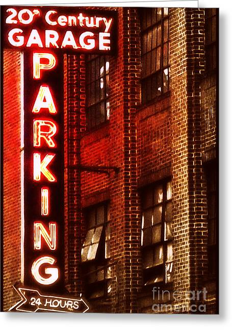 Greeting Card featuring the photograph 24-hour Garage by Miriam Danar