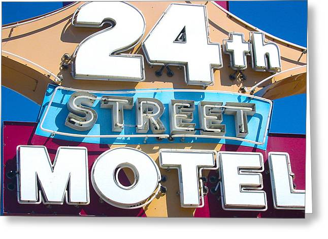 24th Street Motel Sign Greeting Card by John Castell