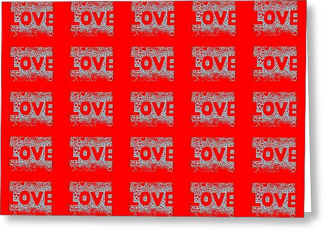 25 Affirmations Of Love In Red Greeting Card by Helena Tiainen