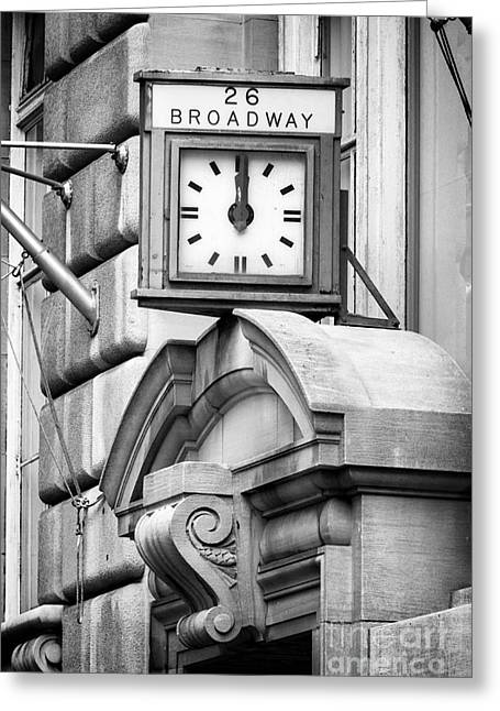 Francis B Greeting Cards - 26 Broadway B and W Greeting Card by Jerry Fornarotto