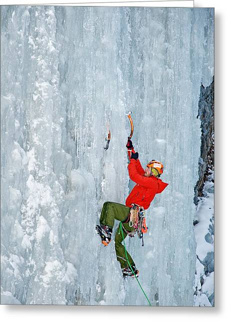 Ice Climbing Greeting Card by Elijah Weber