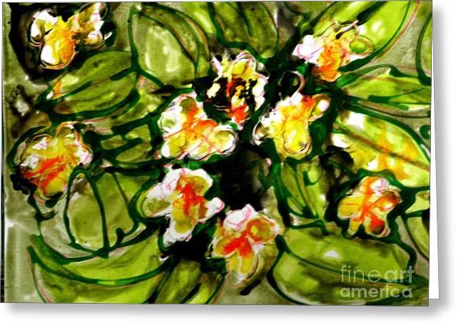 Zenmoksha Flowers Greeting Card by Baljit Chadha